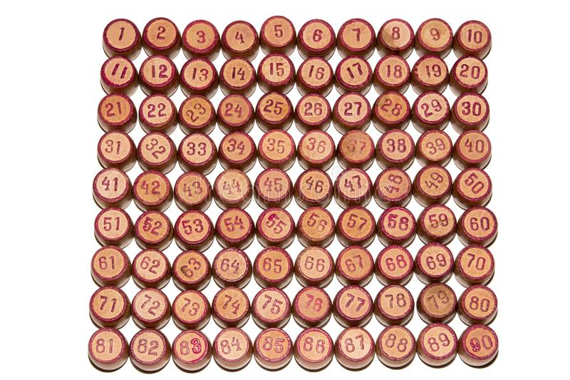 Wooden kegs for a game in a lotto with red numbers. Gambling. Vintage barrels Bingo Board game stock images