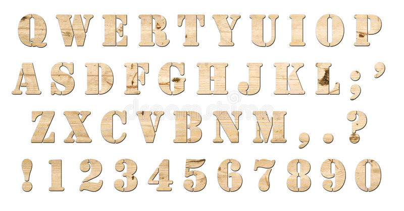 Download Wooden Keyboard Alphabet Isolated Stock Illustration - Image: 7416890