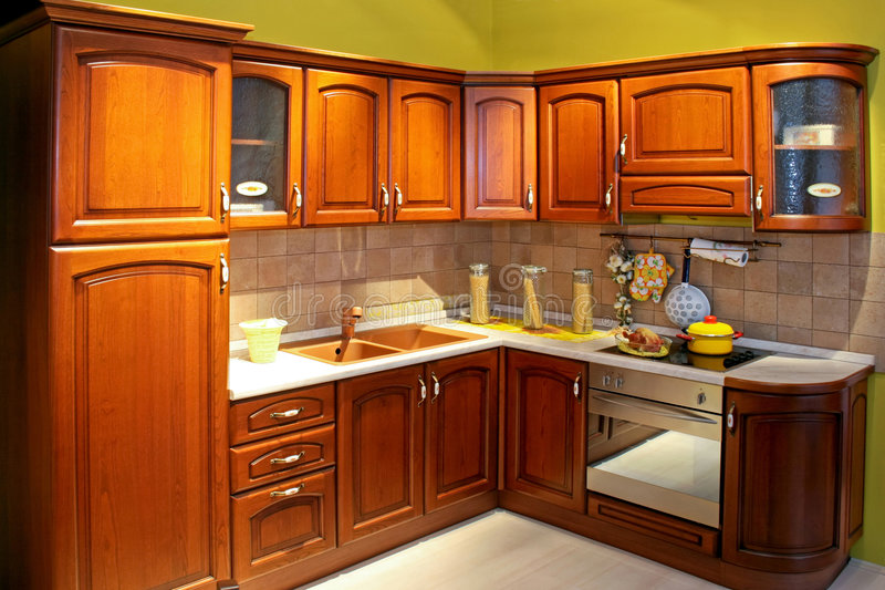 Wooden kitchen. In classic country style home stock image