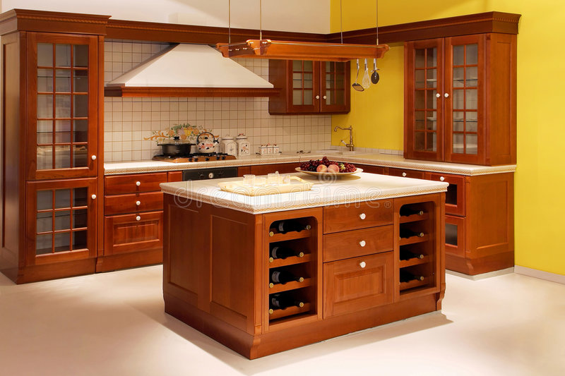 Wooden kitchen. Interior shot of American style wooden kitchen royalty free stock photos