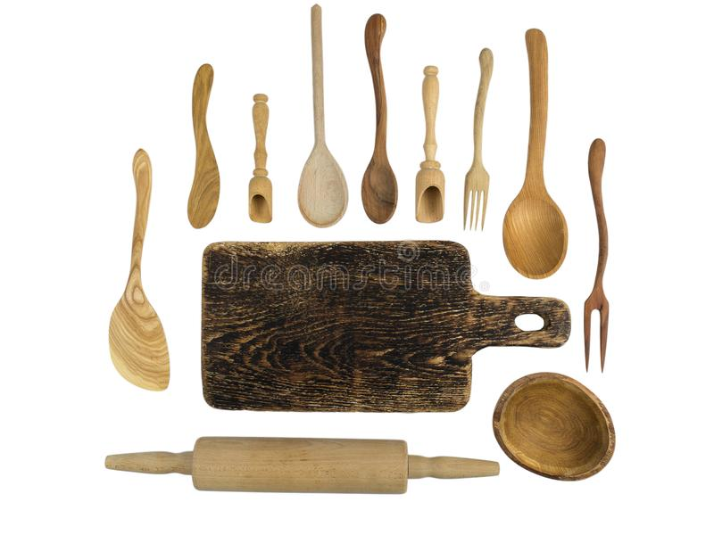 Wooden Kitchen Accessories On A White Background. Stock ...