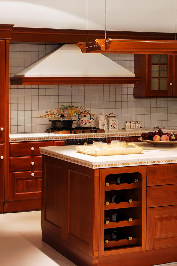 Wooden kitchen detail. Detail of classic American style wooden kitchen stock photos