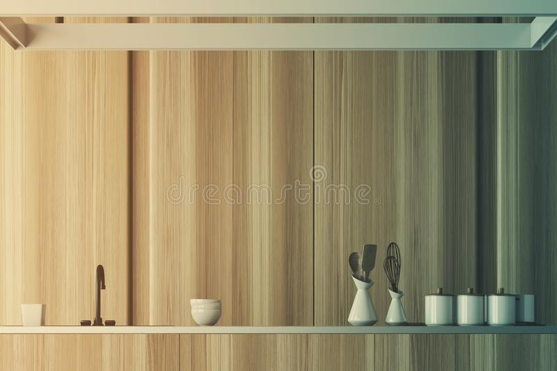 Wooden Kitchen Interior Countertop Close Up Toned Stock
