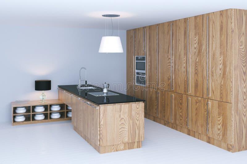 Wooden kitchen interior design with white flooring 3d render.  stock photos