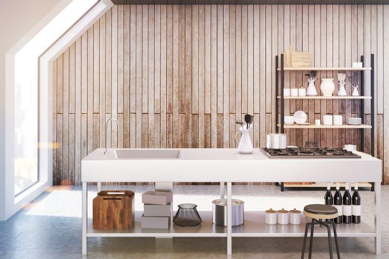 Wooden kitchen interior, toned vector illustration
