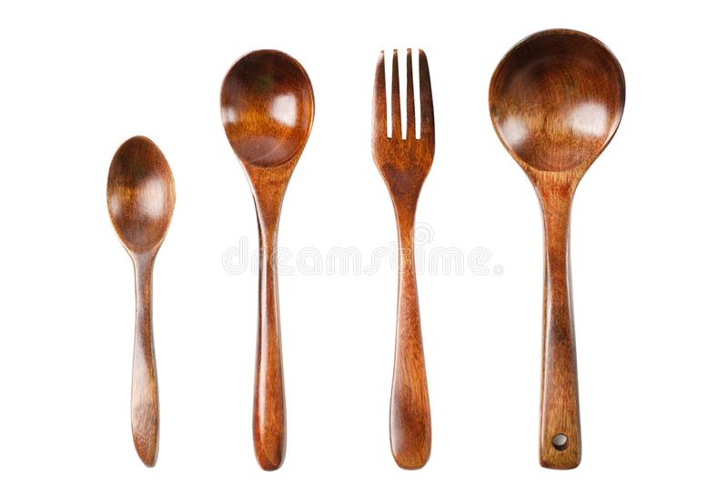 Wooden kitchen set. Spoon, fork, ladle stock photography