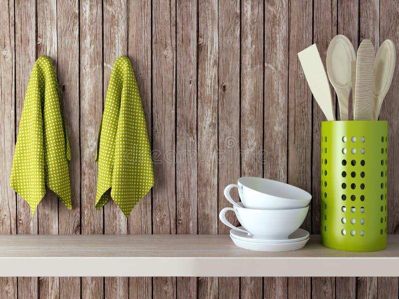 Wooden kitchen shelf. royalty free stock image