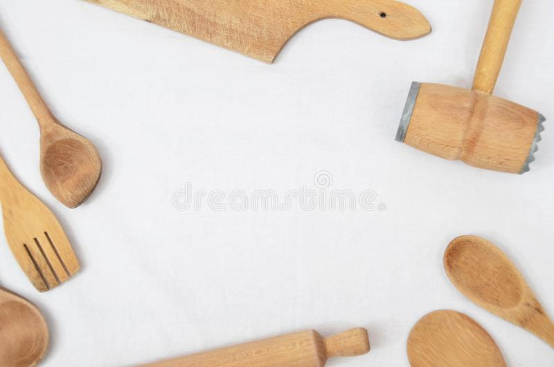 Wooden kitchen tools stock photography