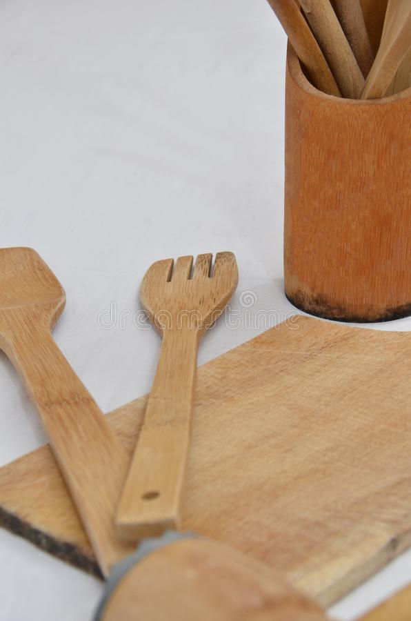 Wooden kitchen tools stock image