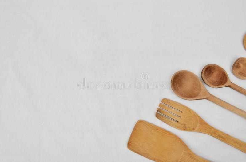 Wooden kitchen tools stock photos