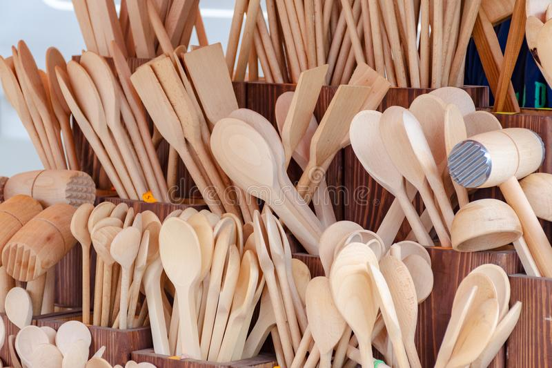 Wooden kitchen tools. In street market royalty free stock photo
