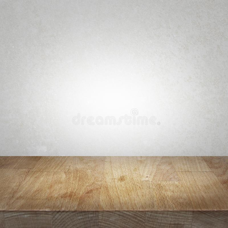 Wooden kitchen top table with light stone background stock image