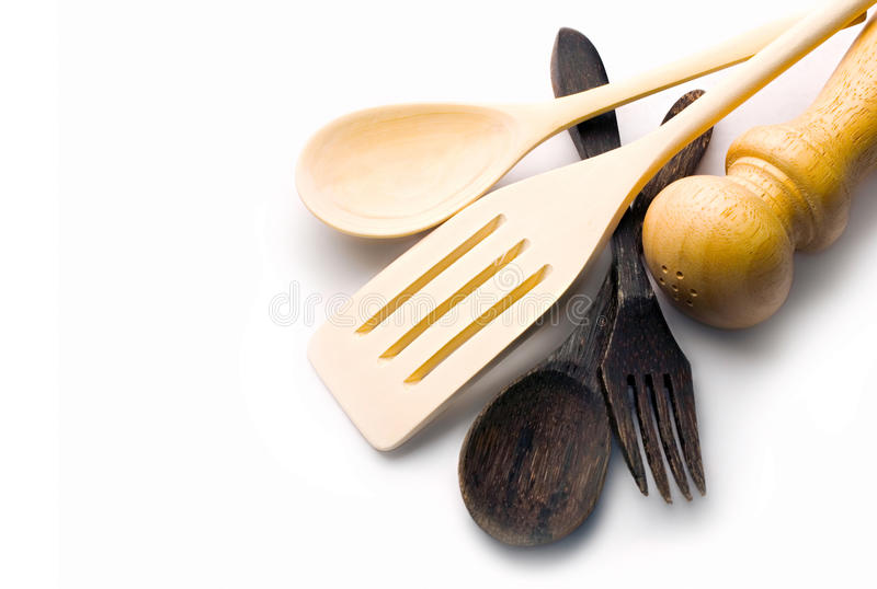 Wooden kitchen-ware. Isolated on white stock photography