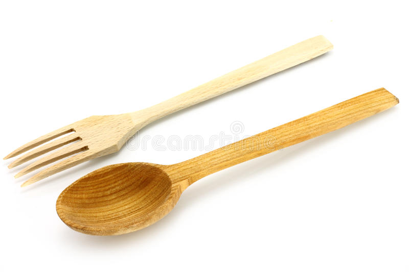 Wooden kitchen-ware. On a white background stock photo