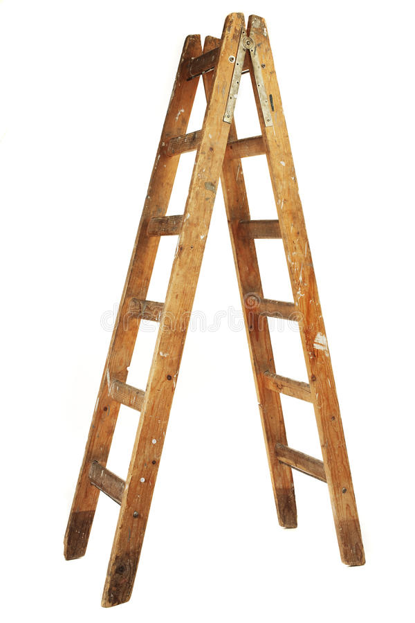 Wooden ladder. Used wooden step ladder on white background