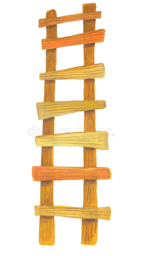 Wooden ladder vector illustration