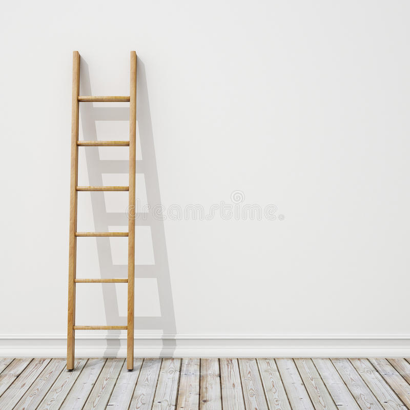 Free Wooden Ladder On White Wall With Vintage Wooden Floor, Background Royalty Free Stock Photography - 47000537