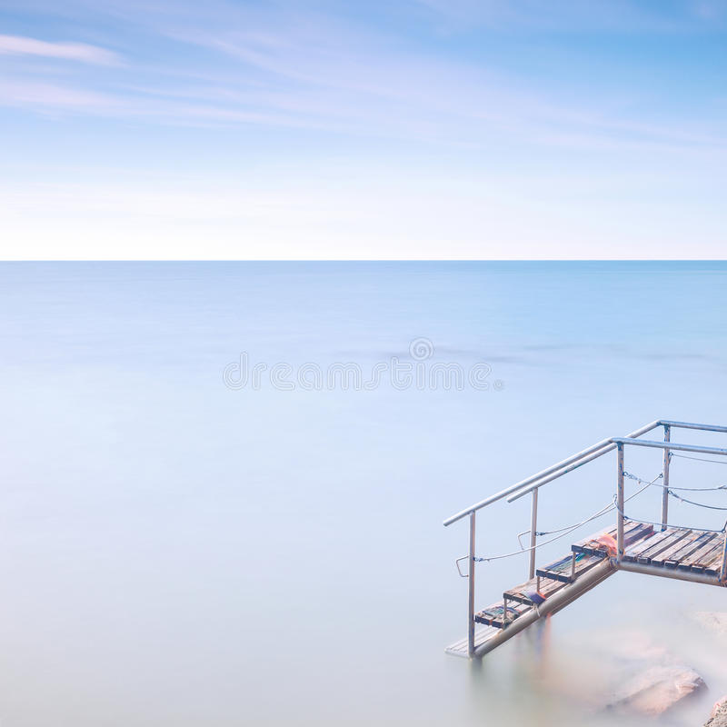 Download Wooden Ladder Pier To Sea Water. Long Exposure. Stock Images - Image: 27935454