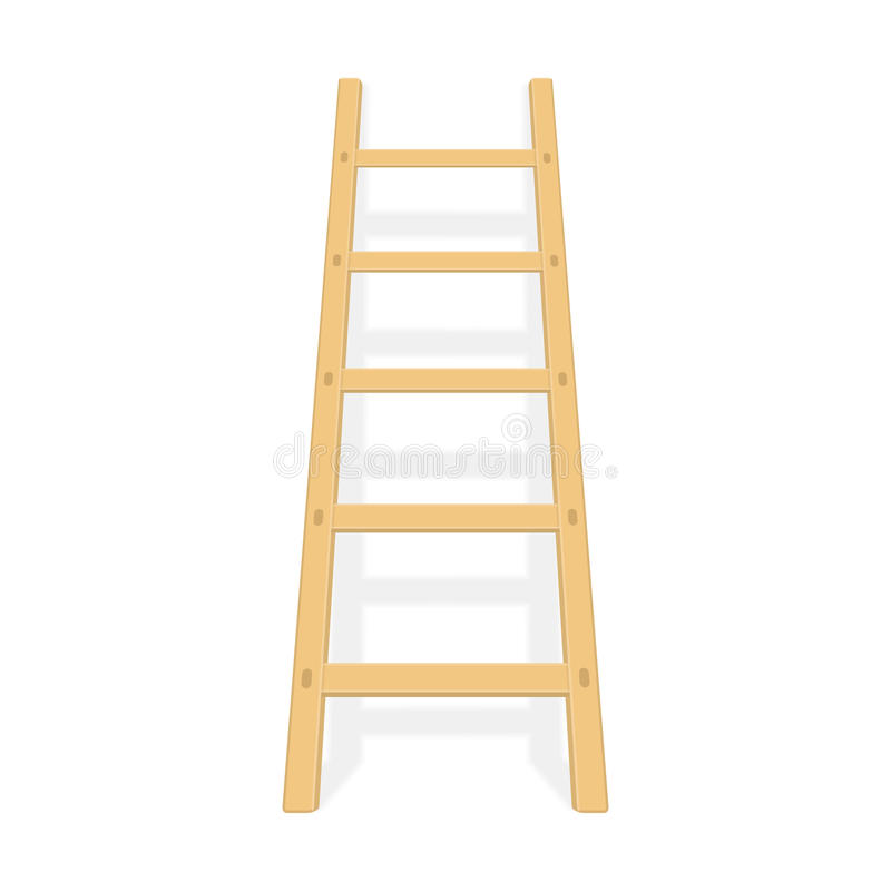 Wooden ladder with shadow vector. royalty free illustration