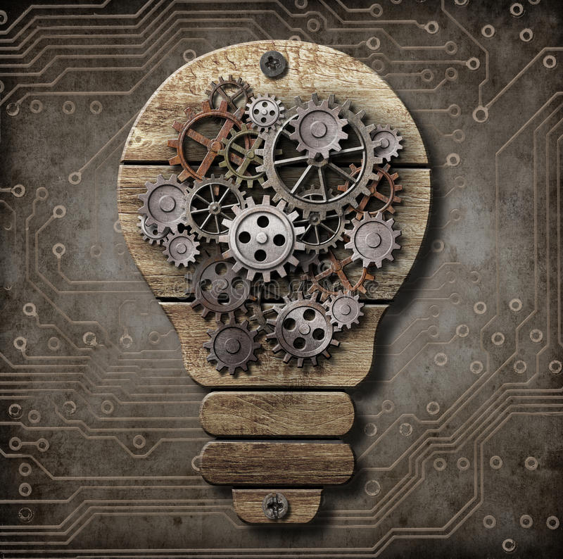Download Wooden Lamp With Cogs And Gears. Idea And Invention Concept. Stock Illustration - Illustration: 38528823