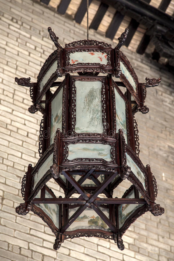 A wooden lantern of the Ming and Qing Dynasties in the Chen Clan Academy royalty free stock photography