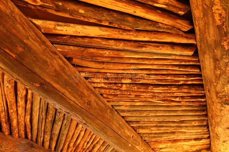 Wooden Latellas on Ceiling of Old Adobe stock image