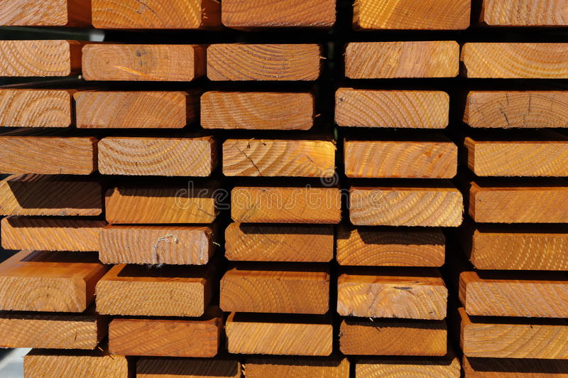 Wooden Laths. Pile of wooden laths for house construction royalty free stock photo