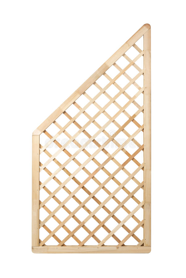 Wooden lattice fence. Panel on white background with clipping path. It can be replicated left and right royalty free stock photos