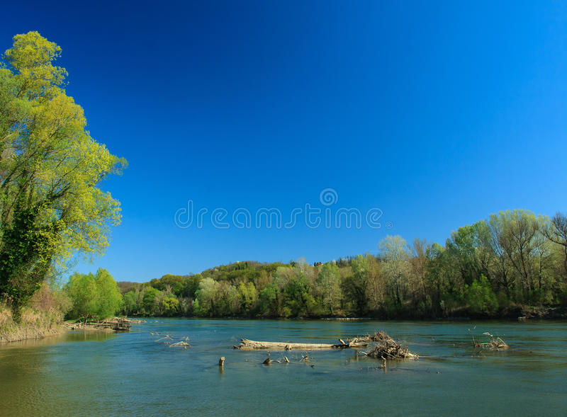 Wooden ledge in river. Wooden ledge in Drava river during spring low water royalty free stock image