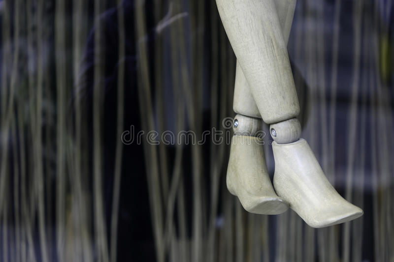 Wooden legs of dummy royalty free stock photo