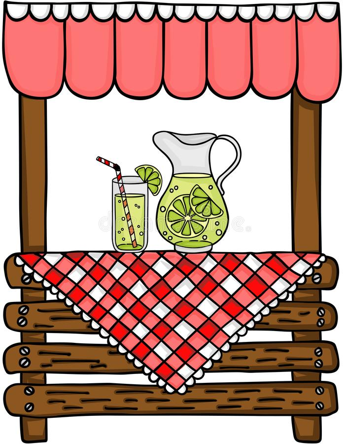 Wooden lemonade stand vector illustration