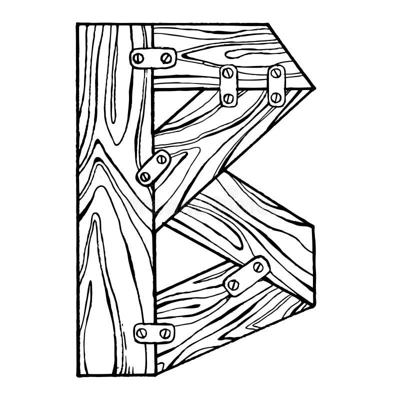 Wooden letter B engraving vector illustration. Font art. Scratch board style imitation. Hand drawn image vector illustration