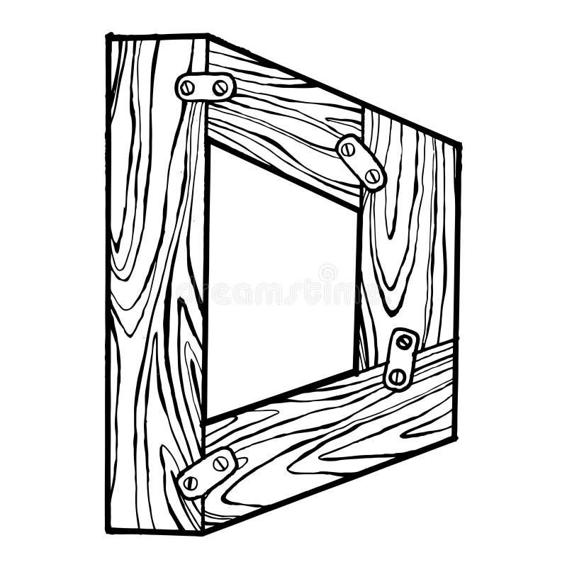 Wooden letter D engraving vector illustration. Font art. Scratch board style imitation. Hand drawn image stock illustration