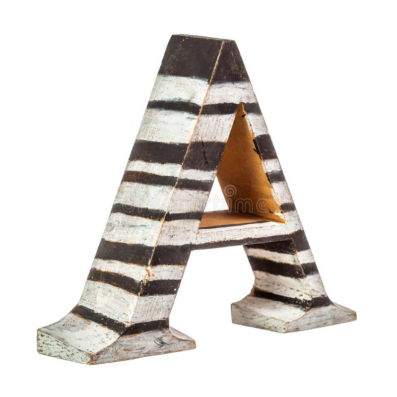 Wooden letter A paint in white and black stripes stock image