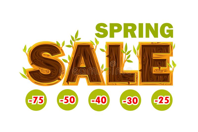 Vector Wooden letters forming the word SALE. Spring sale offer, banner template. On Separate Layers vector illustration