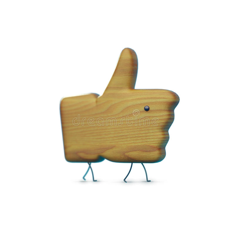 Wooden like icon with legs and eye, character,object stock photo