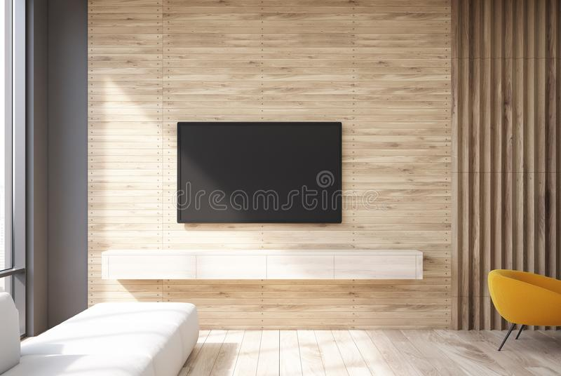 Wooden living room tv set and sofa. Wooden living room interior with a TV set hanging on the wall and a narrow sofa near a panoramic window. 3d rendering mock up stock illustration