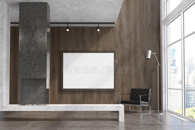 Download Wooden Living Room TV Set Gray Fireplace Stock Illustration