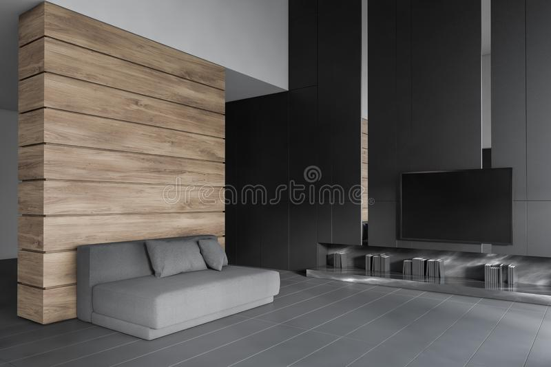 Wooden living room with TV and sofa. Interior of stylish living room with gray and wooden walls, tiled floor, gray sofa with pillows and modern TV set on the stock illustration