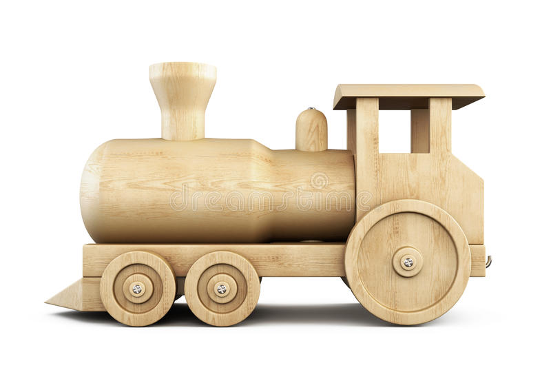 Wooden locomotive side view on a white. 3d. stock illustration
