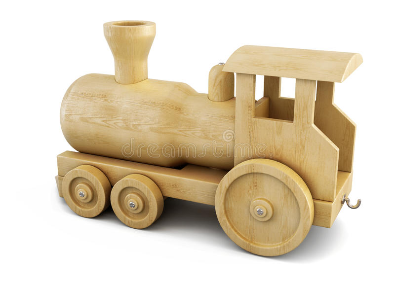 Wooden locomotive on white background. 3d. royalty free illustration