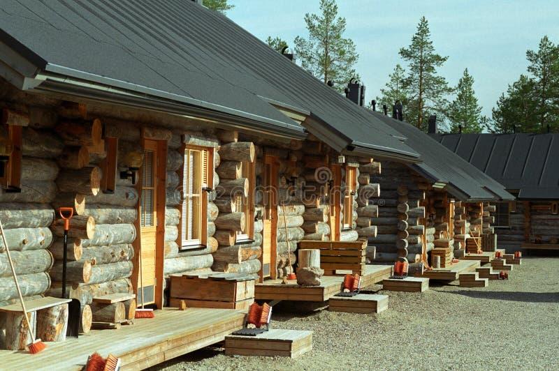 Wooden log cabins stock photos