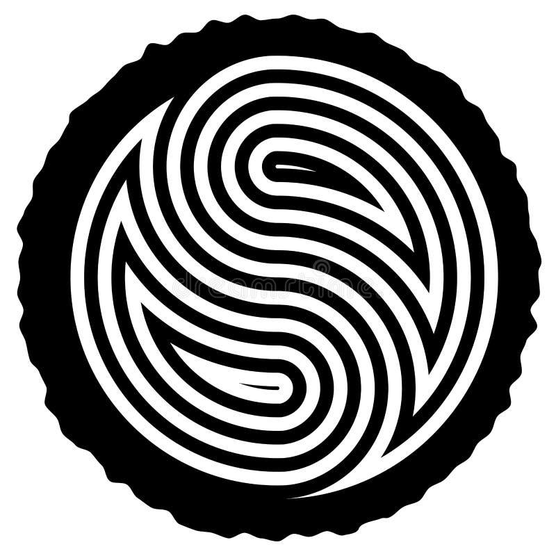 Vector wooden log cut with yin and yang symbol. Vector black and white wooden log cut with rings forming yin and yang symbol vector illustration