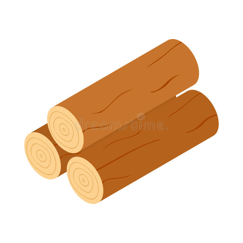 Wooden logs icon, isometric 3d style stock illustration
