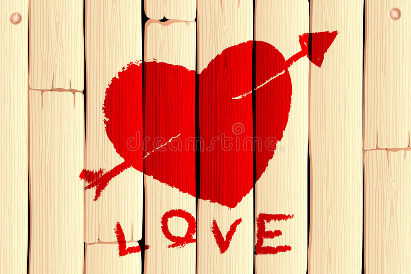 Wooden Love Background vector illustration