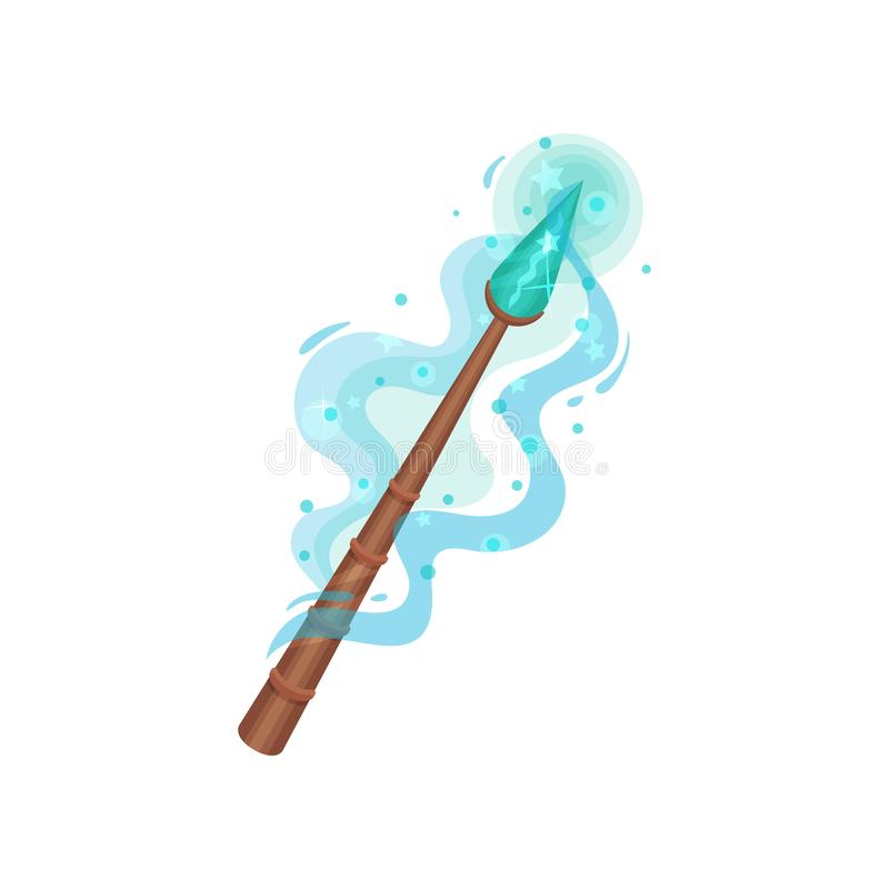 Wooden magic wand with blue gemstone and dust. Tool of wizard. Witchcraft theme. Flat vector design stock illustration
