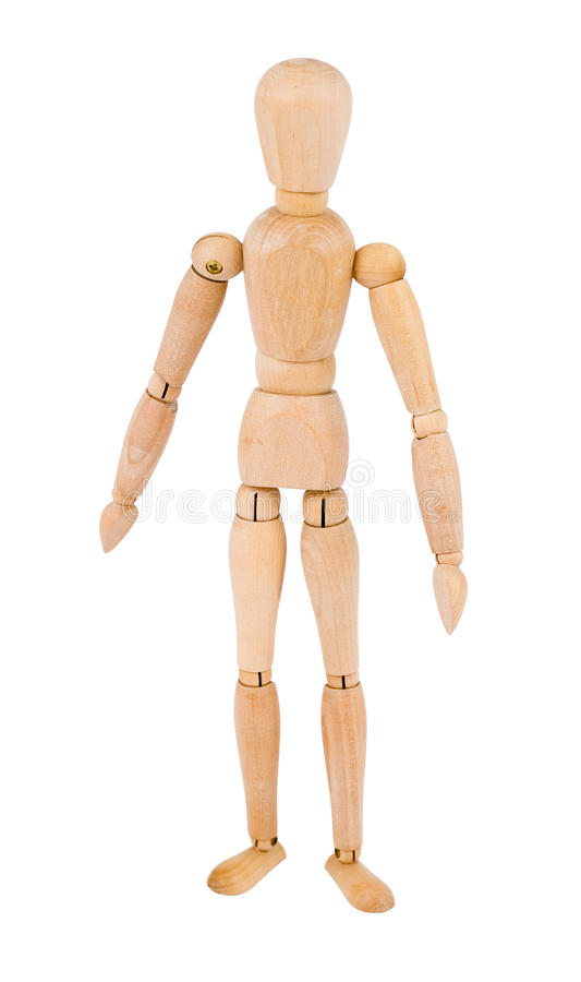 Wooden man. A wooden man, isolated over white background stock image