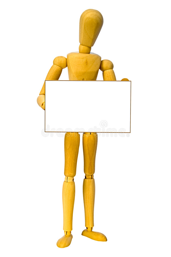 Wooden man. A wooden man holding a sign with space for your text stock images