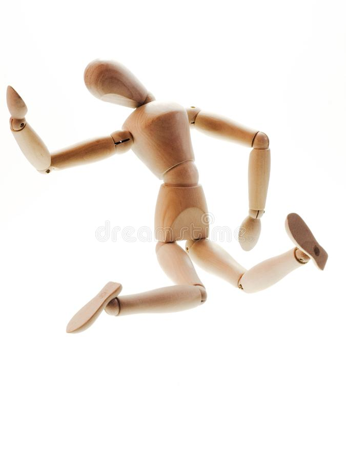 Wooden man falling stock photo