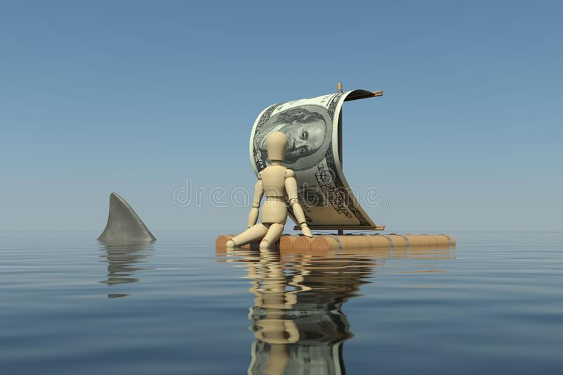 The wooden man floats on a raft vector illustration